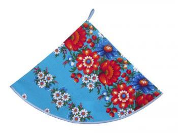 Полотенце вафельное круглое (Полянка, синий)