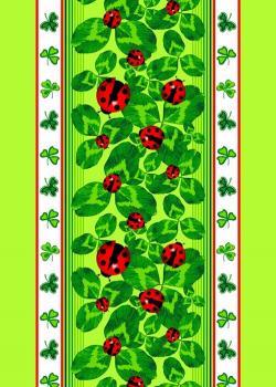 Полотенце 50*70 вафельное (Божьи коровки, зеленый)