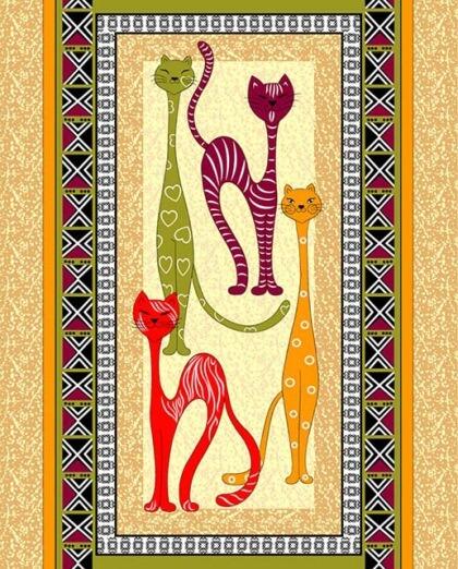 Полотенце 48*60 см вафельное (Египетские кошки, вид 2)