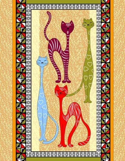 Полотенце 48*60 см вафельное (Египетские кошки, вид 3)