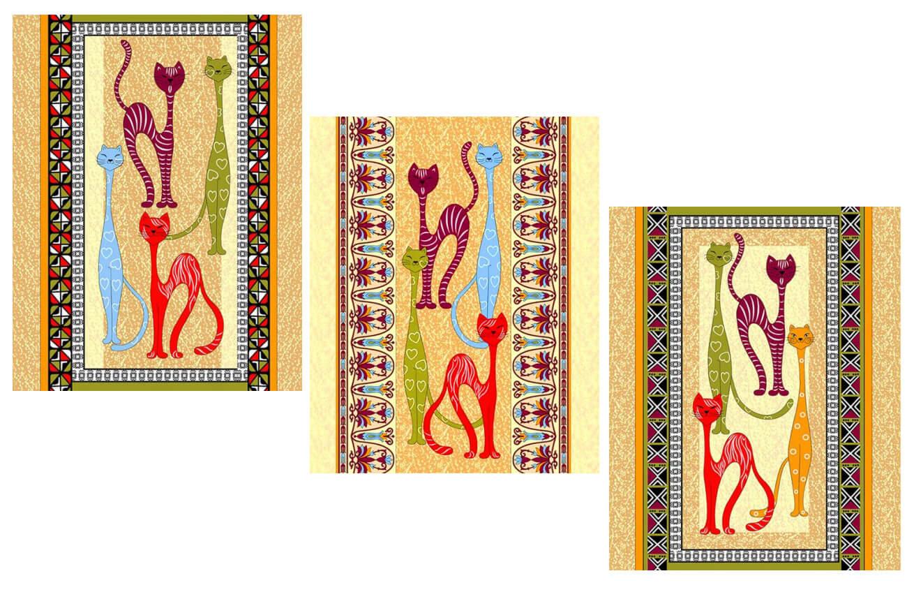 Комплект вафельных полотенец 48*60 см, 3 штуки (Египетские кошки)
