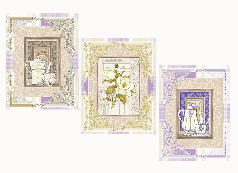 Комплект вафельных полотенец 48*60 см, 3 штуки (Королевский чай)