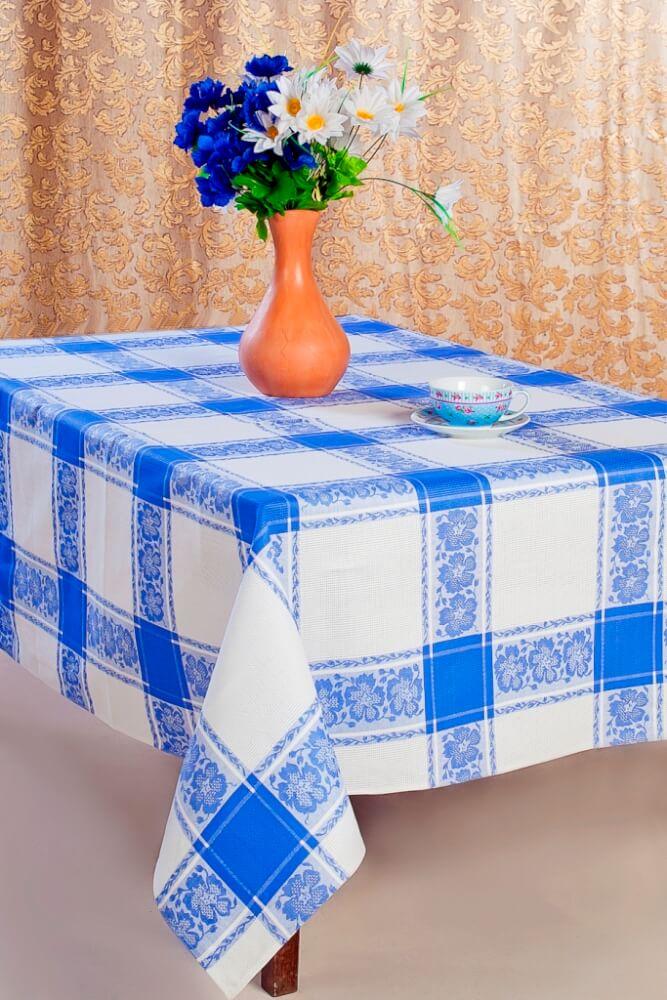 Скатерть 150*180 см, полульняная ткань (Классика, синий)