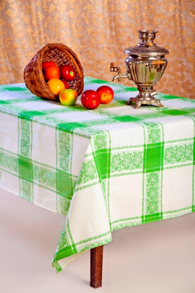 Скатерть 150*250 см, полульняная ткань (Классика, зеленый)