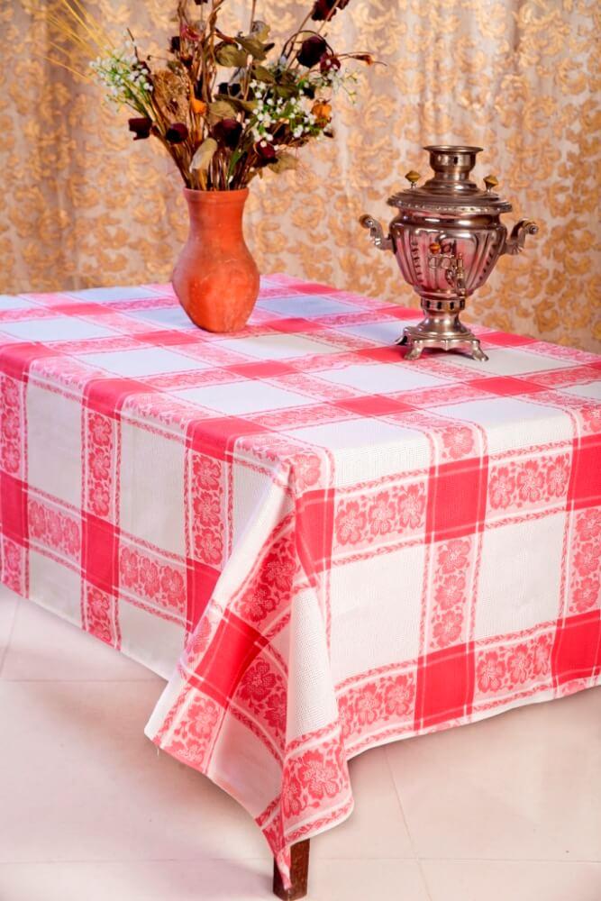 Скатерть 150*250 см, полульняная ткань (Классика, красный)