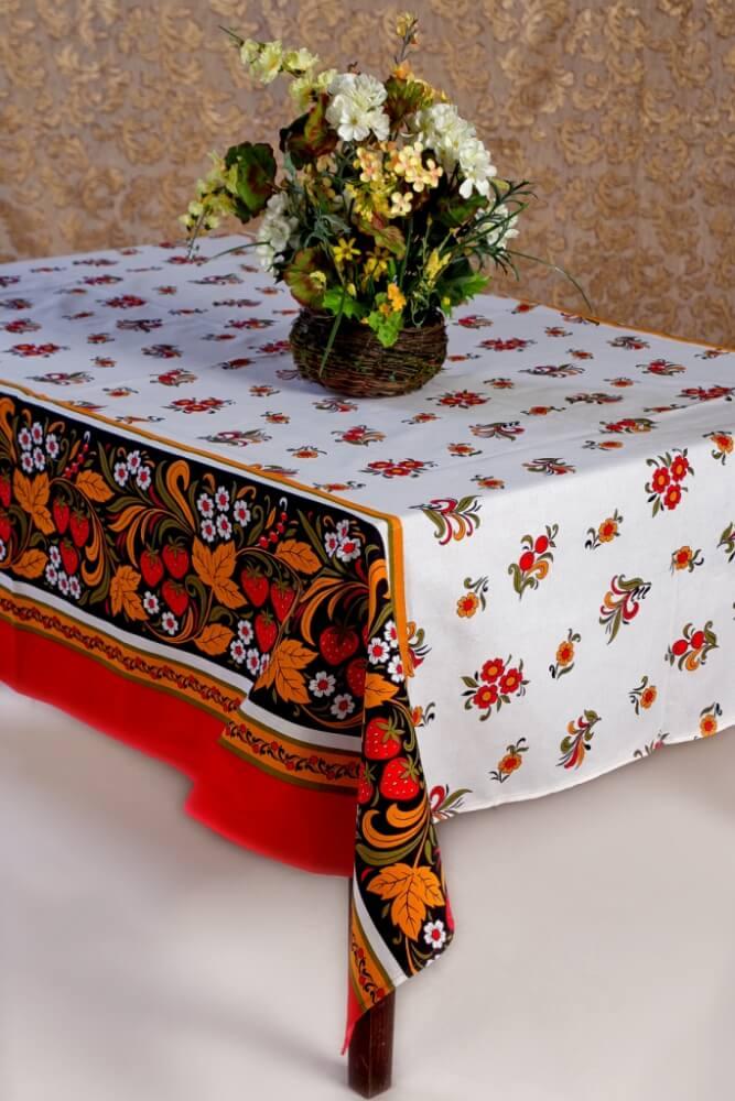 Скатерть 100*150 см, полульняная ткань (Хохлома с клубникой)