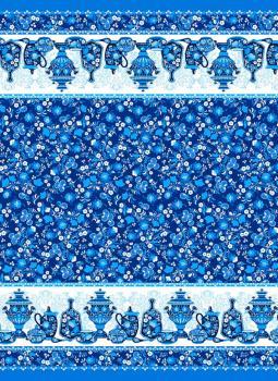Полотенце вафельное пляжное 80*150 см (Посуда, синий)