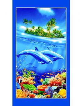 Полотенце вафельное пляжное 80*150 см (Дельфины 3 D)