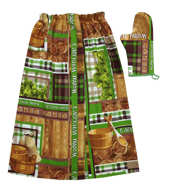 Комплект для сауны мужской, вафельная ткань (С легким паром)