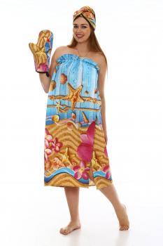 Комплект для сауны женский, 3 предмета, вафельная ткань (Лагуна 3 D)