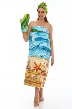 Комплект для сауны женский, 3 предмета, вафельная ткань (Райский уголок)