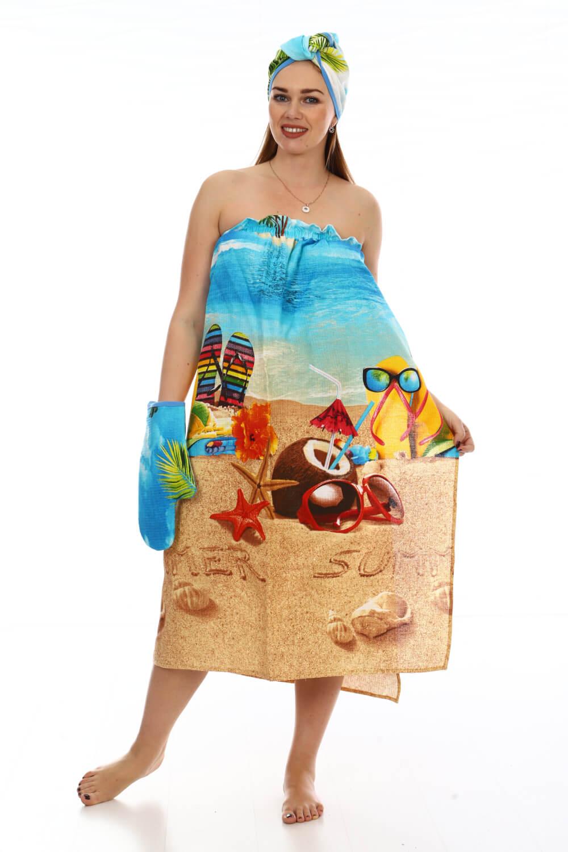 Комплект для сауны женский, 3 предмета, вафельная ткань (Отпуск)