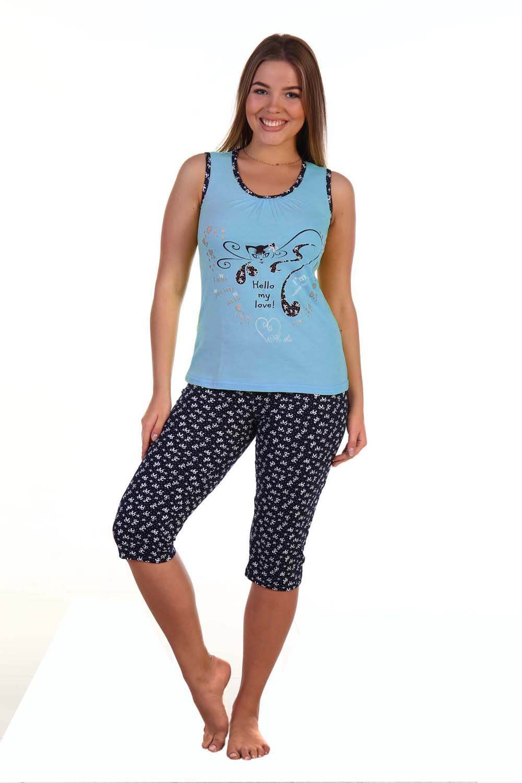 Костюм женский, модель 129 Кошка гламур, трикотаж (Голубой)