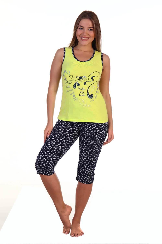 Костюм женский, модель 129 Кошка гламур, трикотаж (Желтый)