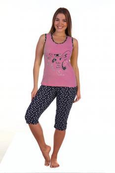 Костюм женский, модель 129 Кошка гламур, трикотаж (Розовый)