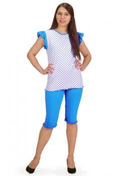 Пижама ночная женская, модель 430, трикотаж (Горошек (бирюзовый))
