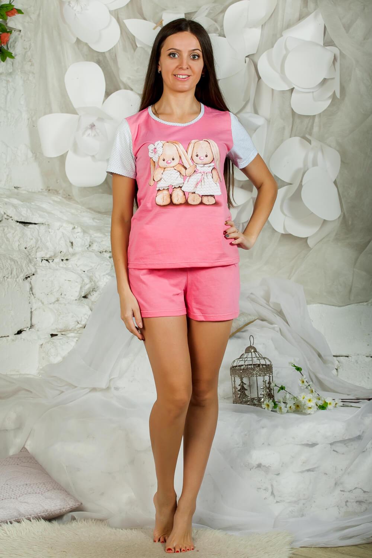 Пижама ночная женская, модель 435 Зайки, трикотаж (Розовый)