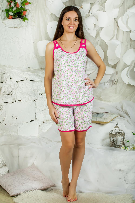Пижама ночная женская, модель 433, трикотаж (Божьи коровки, зеленый)