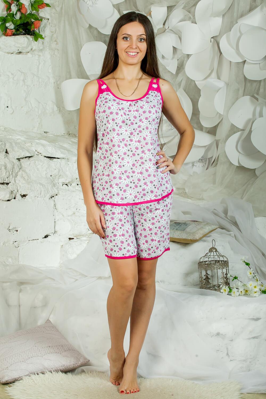 Пижама ночная женская, модель 433, трикотаж (Божьи коровки, розовый)