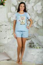 Пижама ночная женская, модель 435 Котик, трикотаж (Голубой)