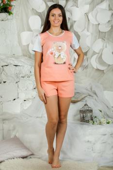 Пижама ночная женская, модель 435 Котик, трикотаж (Персиковый)