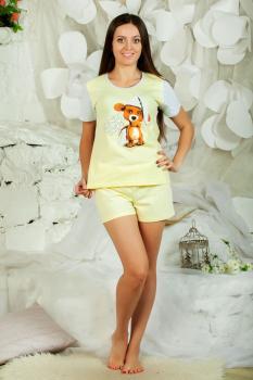 Пижама ночная женская, модель 435 Мишка, трикотаж (Желтый)