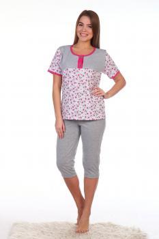 Пижама ночная женская, модель 438, трикотаж (Божьи коровки, розовый)