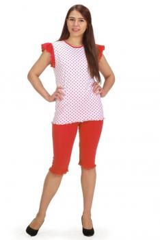 Пижама ночная женская, модель 430, трикотаж (Горошек (коралловый))