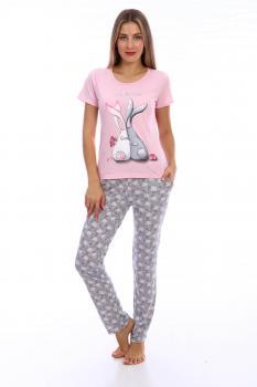 Пижама ночная женская, модель 443, трикотаж (Зайчата)