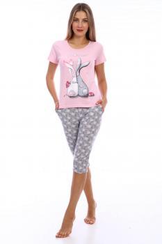 Пижама ночная женская, модель 442, трикотаж (Зайчата)