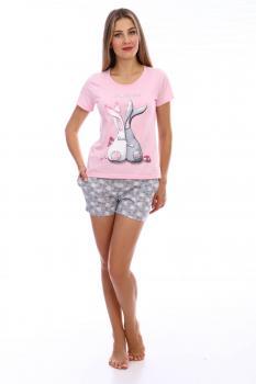Пижама ночная женская, модель 441, трикотаж (Зайчата)