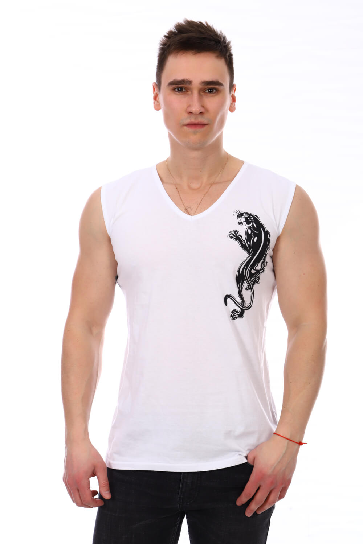 Майка мужская, модель 210, трикотаж (Пантера, белый)
