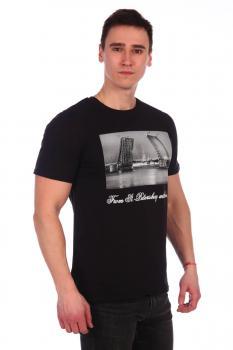 Футболка мужская, модель 211, трикотаж (Мосты, черный)