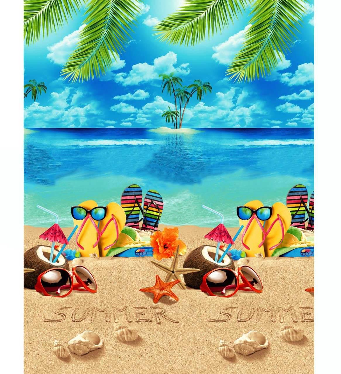 Полотенце вафельное пляжное 100*150 см (Отпуск)