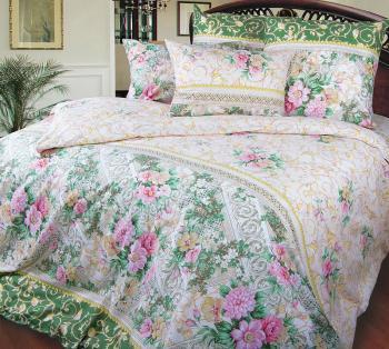 Комплект постельного белья Евромакси, поплин (Римский дворик, зеленый)