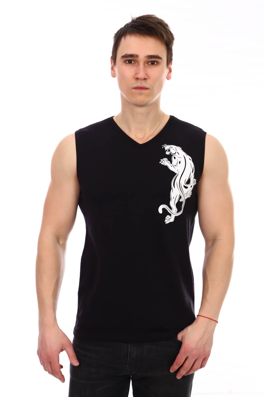 Майка мужская, модель 210, трикотаж (Пантера, черный)