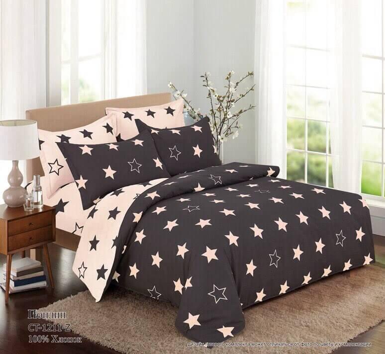 Комплект постельного белья 2-спальный, поплин (Старс)