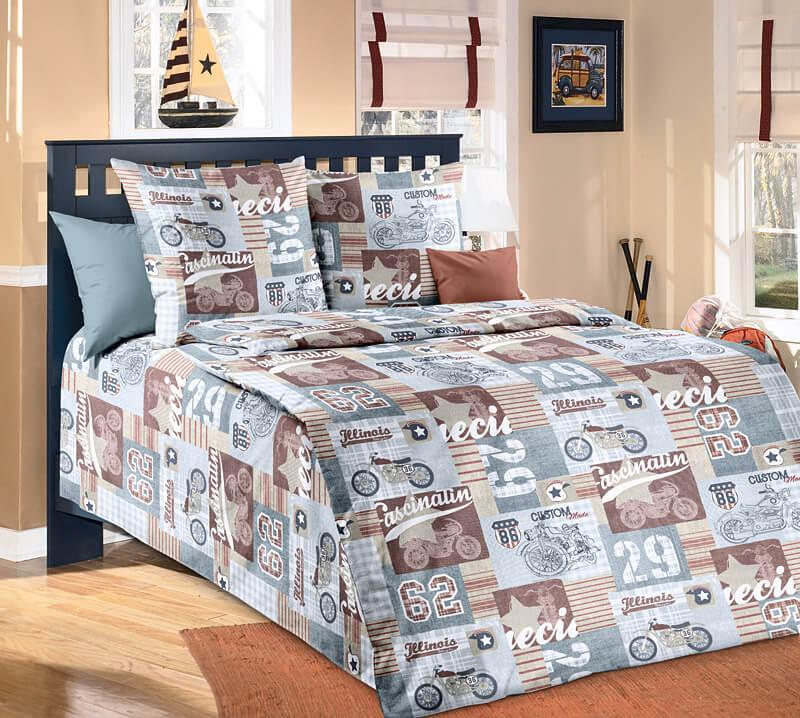 """Комплект постельного белья 1,5-спальный, бязь """"Люкс"""", детская расцветка (Харлей)"""