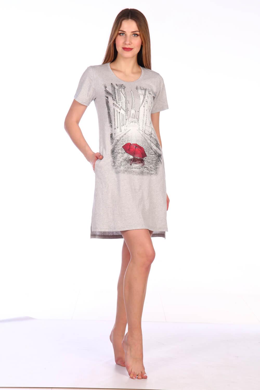 Туника женская, модель 135, трикотаж-меланж (Галери Вивьен, серый)