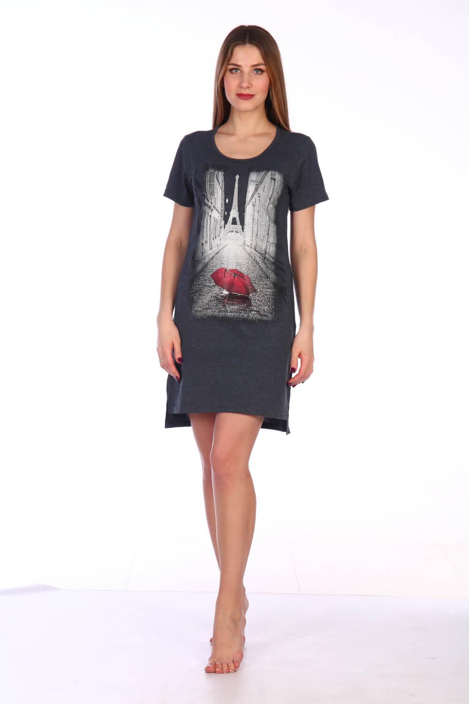 Туника женская, модель 135, трикотаж-меланж (Галери Вивьен, графит)