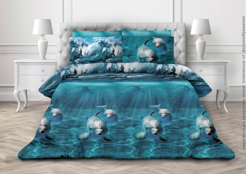 Комплект постельного белья Евростандарт, бязь  ГОСТ (Дельфин 3 D)