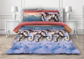 Комплект постельного белья Семейный, бязь  ГОСТ (Волки 3 D)