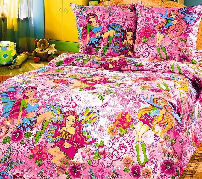 """Комплект постельного белья 1,5-спальный, бязь """"Люкс"""", детская расцветка (Добрые феи)"""