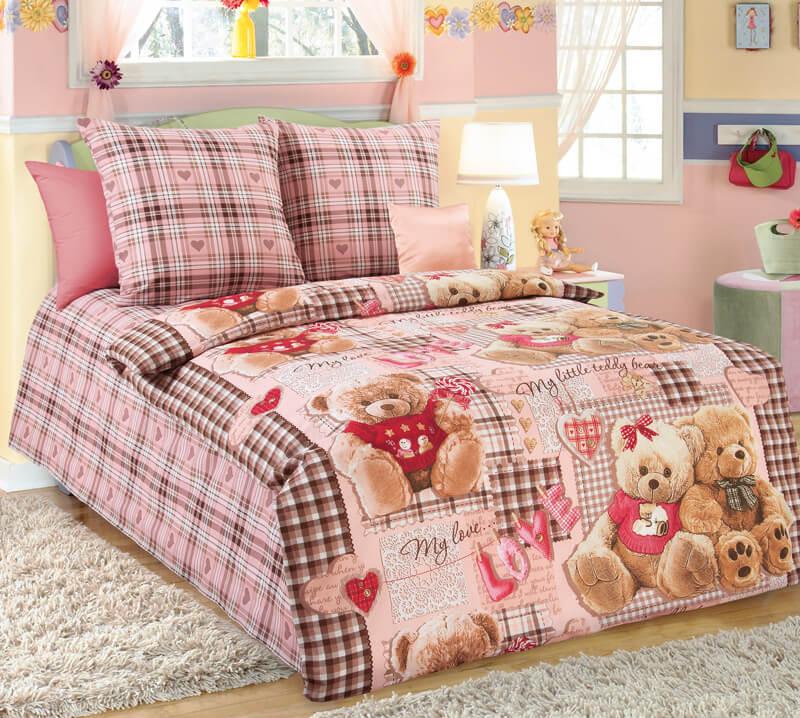 """Комплект постельного белья 1,5-спальный, бязь """"Люкс"""", детская расцветка (Плюшевые мишки, бежевый)"""