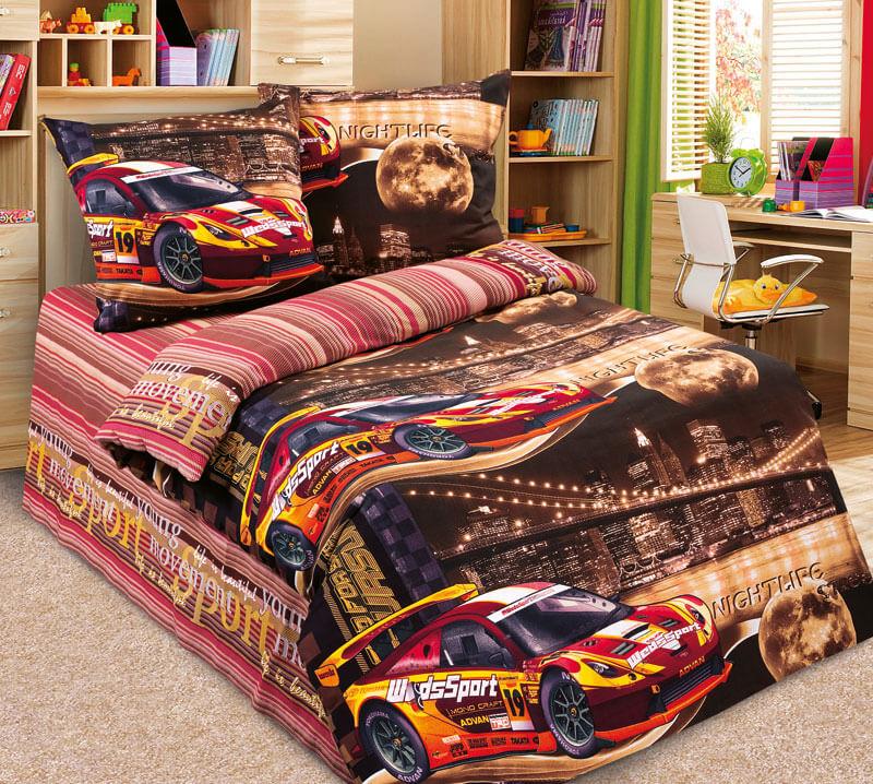 """Комплект постельного белья 1,5-спальный, бязь """"Люкс"""", детская расцветка (Неон, коричневый)"""