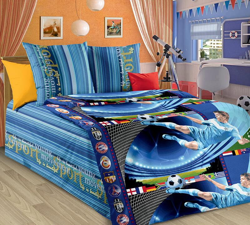 """Комплект постельного белья 1,5-спальный, бязь """"Люкс"""", детская расцветка (Пенальти)"""