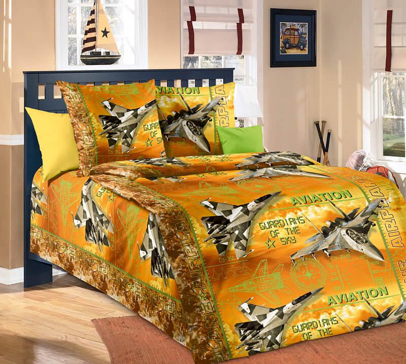 """Комплект постельного белья 1,5-спальный, бязь """"Люкс"""", детская расцветка (Стражи неба, бежевый)"""