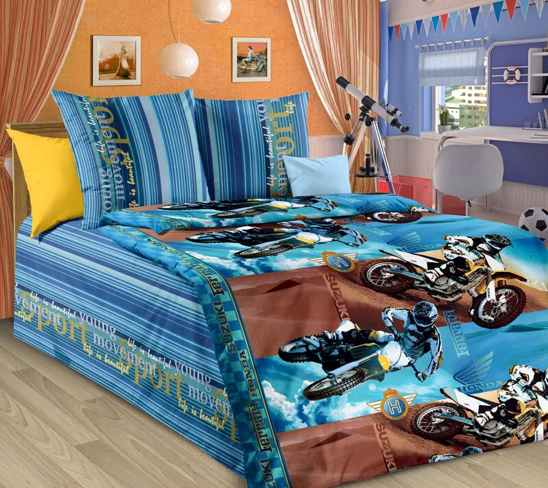 """Комплект постельного белья 1,5-спальный, бязь """"Люкс"""", детская расцветка (Драйв 3 D)"""