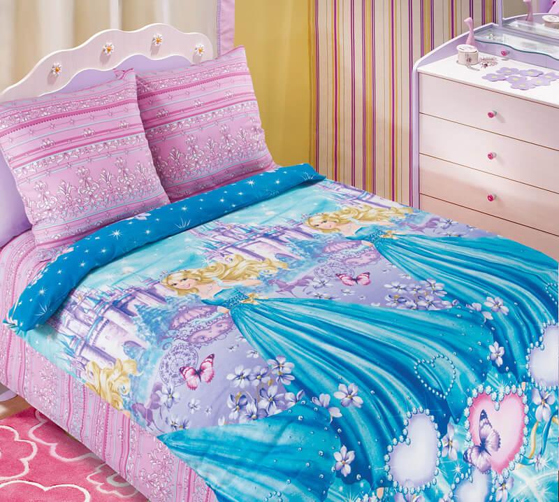 """Комплект постельного белья 1,5-спальный, бязь """"Люкс"""", детская расцветка (Золушка 3 D)"""