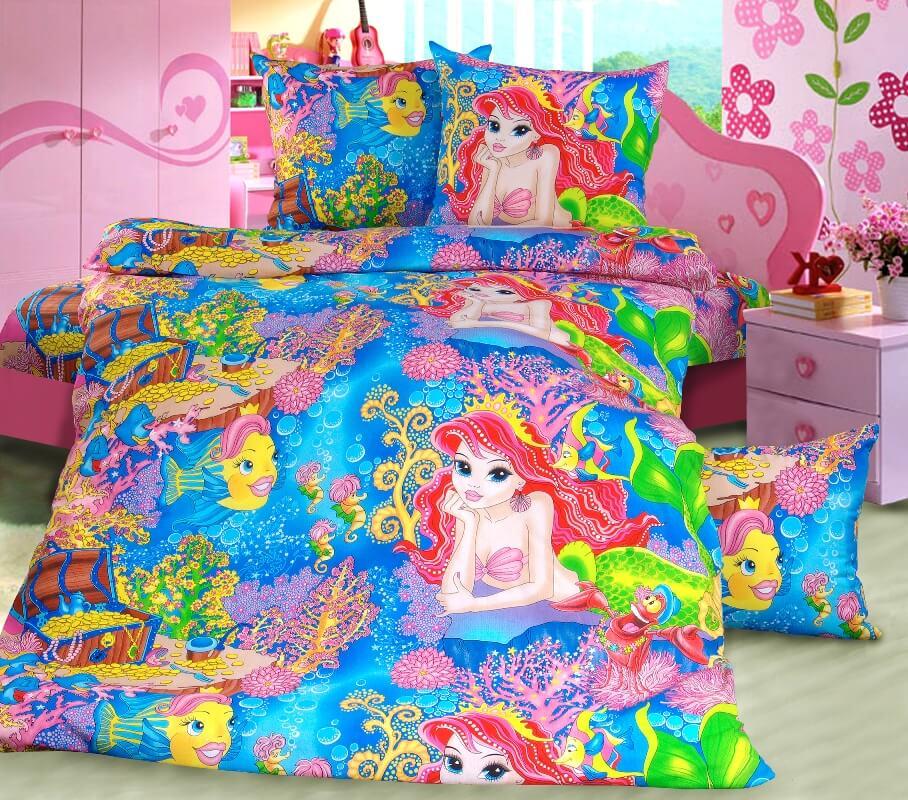 """Комплект постельного белья 1,5-спальный, бязь """"Люкс"""", детская расцветка (Морская сказка)"""